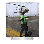 Airman Checks The Takeoff Path Shower Curtain