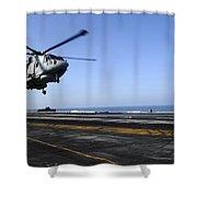 Airman Directs An Eh-101 Merlin Shower Curtain