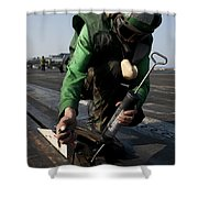 Airman Greases The Catapult Shuttle Shower Curtain