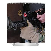 Airman Posts Security At The Front Door Shower Curtain