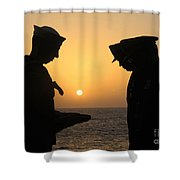 Airman Presents Commanding Officer Shower Curtain