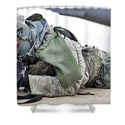Airman Provides Security At Whiteman Shower Curtain by Stocktrek Images