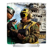 Airman Receives Proper Fire Fighting Shower Curtain by Stocktrek Images