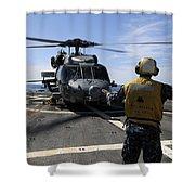 Airman Signals To An Mh-60s Sea Hawk Shower Curtain