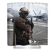 Airman Stands By With Tie-down Chains Shower Curtain