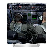 Airmen At Work In A Mc-130h Combat Shower Curtain