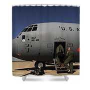 Airmen Board A C-130j Hercules At Dyess Shower Curtain
