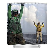 Airmen Communicate To Aircraft Aboard Shower Curtain
