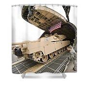 Airmen Load A Tank Into A C-5m Super Shower Curtain