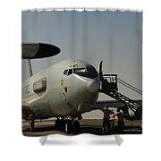 Airmen Prepare A U.s. Air Force E-3 Shower Curtain