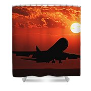Airplane Landing At Sunset Shower Curtain