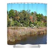 Alabama Bayou In Autumn Shower Curtain