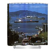 Alcatraz From San Fran Hilltop Shower Curtain by Paul W Faust -  Impressions of Light