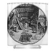 Alchemists Laboratory, 1595 Shower Curtain by Science Source