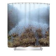 Alcotts Pond In Fog Shower Curtain