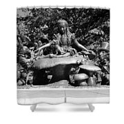 Alice In Wonderland In Central Park In Black And White Shower Curtain