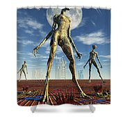 Alien Reptoid Beings Wearing Organic Shower Curtain