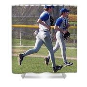 All Air Baseball Players Running Shower Curtain