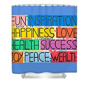 All The Happy Words Shower Curtain