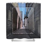 Alley With Guy Reading Layered Shower Curtain by Anita Burgermeister