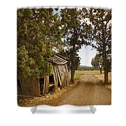 Almost A Pile Of Wood Barn Vertical Shower Curtain