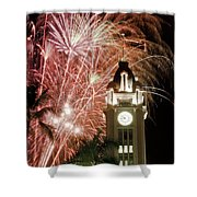 Aloha Tower Fireworks Shower Curtain