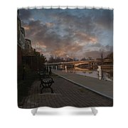 Along The Menasha Riverfront Shower Curtain