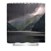 Alpine Lake With Sunlight Shower Curtain by Mats Silvan
