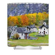 Alpine Village In Autumn Shower Curtain