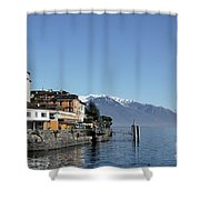 Alpine Village On The Lake Front Shower Curtain