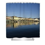 Alpine Village Reflected In The Water Shower Curtain