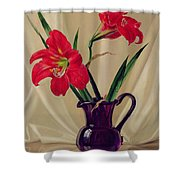 Amaryllis Lillies In A Dark Glass Jug Shower Curtain