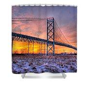 Ambassador Bridge Sunrise 1-16-2012  Detroit Mi Shower Curtain