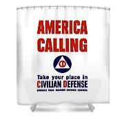 America Calling -- Civilian Defense Shower Curtain