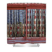 America Still Beautiful Red Picture Window Frame Photo Art View Shower Curtain