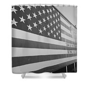 American Flag At Nathan's In Black And White Shower Curtain
