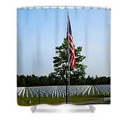 American Flag At Soldiers Graves Shower Curtain