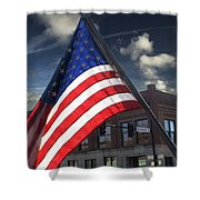 American Flag Flowing In Urban Landscape Shower Curtain