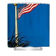 American Flag Flying Over The Palms Shower Curtain
