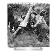 American Howitzers Shell German Forces Shower Curtain