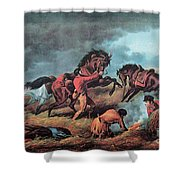 American Prairie Hunters Using Fire Shower Curtain