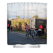Amish Buggies October Road Shower Curtain