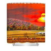 Amish Farm Sundown Shower Curtain by Randall Branham