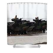 Amphibious Assault Vehicles Land Ashore Shower Curtain