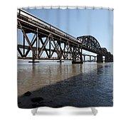 Amtrak Train Riding Atop The Benicia-martinez Train Bridge In California - 5d18830 Shower Curtain