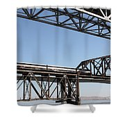 Amtrak Train Riding Atop The Benicia-martinez Train Bridge In California - 5d18835 Shower Curtain