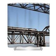 Amtrak Train Riding Atop The Benicia-martinez Train Bridge In California - 5d18837 Shower Curtain