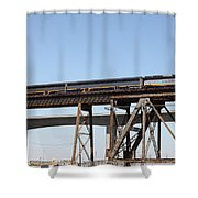 Amtrak Train Riding Atop The Benicia-martinez Train Bridge In California - 5d18839 Shower Curtain