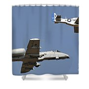An A-10 Thunderbolt And A P-51 Mustang Shower Curtain