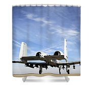 An A-10 Thunderbolt II Taxies Shower Curtain by Stocktrek Images